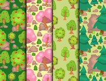 Garden trees vector flowers grass game park elements illustration nature forest green plant bush landscape natural Stock Illustration