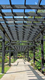 Garden trellis arbor. Photo of a long paved garden trellis arbor walkway Royalty Free Stock Image