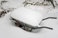 Garden Trolley In Winter Stock Image