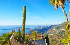 The garden of tropic plants in Eze Stock Photo
