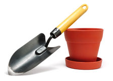 Garden Trowel and Flower Pot Royalty Free Stock Images