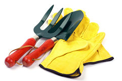 Garden trowel fork and gloves Royalty Free Stock Image