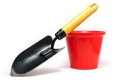 Garden Trowel and Red Flower Pot Stock Photography