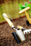 Garden trowel in soil Royalty Free Stock Photos