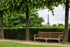 The garden of Tuilleries and The Eiffel Tower in Paris, France Royalty Free Stock Images