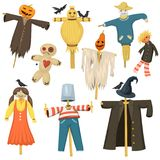 Garden ugly terrible fabric scarecrow fright bugaboo dolls on stiick and toy character dress from farm rag-doll vector Royalty Free Stock Image