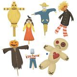 Garden ugly terrible fabric scarecrow fright bugaboo dolls on stiick and toy character dress from farm rag-doll vector. Illustration Royalty Free Stock Photo