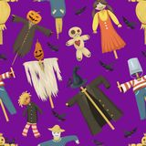 Garden ugly terrible fabric scarecrow vector fright bugaboo dolls on stiick and toy character dress from farm rag. Dollseamless pattern background Stock Photography
