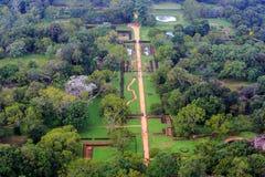 Garden under Sigiriya Rock stock image