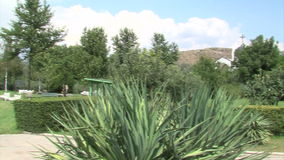 Garden of Vanga in Rupite Bulgaria. Temple of Saint Petka built Vanga stock footage