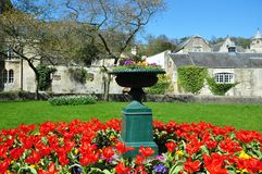 Garden Vase and Flowerbed. In a Beautiful Formal Gardens Stock Photo