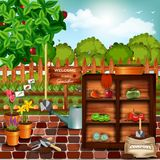 Garden. Background with fresh fruits and vegetables, flowers and tools, fence and forest. Very detailed vector illustration Stock Photo