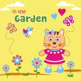 Garden. Vector illustration for children clothes for wallpaper Royalty Free Stock Photo
