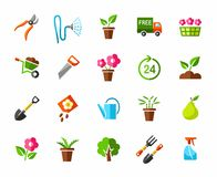 Garden, vegetable garden, icons, colored. Stock Images
