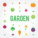 Garden with vegetables icons set, seeds, leaves Stock Photos
