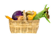 Garden vegetables in a wicker basket Royalty Free Stock Photography