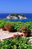 Garden veranda overlooking Aegean Stock Images