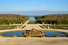 Garden of Versailles with the Grand Canal, France Stock Photography