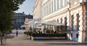 Garden of a Viennese coffee house beside the famous Albertina museum Royalty Free Stock Images