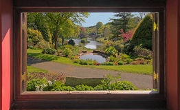 Garden View. A view through a window at a beatiful landscaped garden in Staffordshire, England Royalty Free Stock Photos