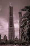 Garden view in Dubai. Picture of a modern building, taken from a garden in Dubai Royalty Free Stock Photos