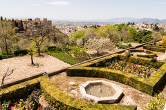 Garden and views. Of the historic sites of Alhambra in Spain Stock Image