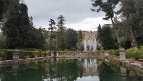 Garden of Villa D'Este. UNESCO world heritage site Villa d'Este in Tivoli, Italy royalty free stock photo