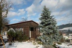 Garden village cottage in winter Stock Images