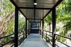 Garden walkway bridge go to viewpoint stock image