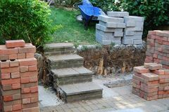 Garden wall under construction Royalty Free Stock Images