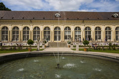 Garden in Warsaw, Poland. Here is the August Royal theatre-one of the few in Europe original 18th-century Court Theatre, which by 2015 is on the Baltic Sea the Stock Photography