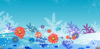 Garden and water. Landscape  illustration Royalty Free Stock Image