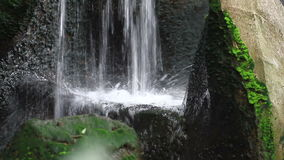 Garden Waterfall. Footage of small waterfall in house garden landscape water element in full HD stock footage
