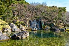 Garden Waterfall in Himeji. stock images