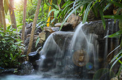 Garden waterfall. Royalty Free Stock Photography