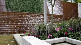 Garden waterfalls. Nice sound of waterfalls in a city garden stock video footage