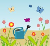 Garden Watering Can, Butterflies and Flowers. A blue garden watering can, fantasy flowers and blue, violet and pink butterflies Royalty Free Stock Photography