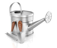 Garden watering can and tools Royalty Free Stock Images