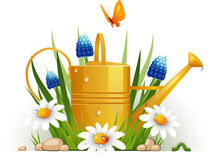 Free Garden Watering Can With Flowers Stock Photo - 18718740