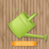 Garden watering illustration on wooden background Royalty Free Stock Photography