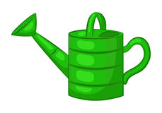 Garden watering. Isolated object on a white background. Green watering can. Cartoon icon. Vector illustration vector illustration