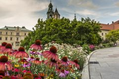 Garden in Wawel Castle, Cracow, Poland Royalty Free Stock Images