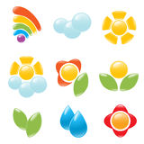 Garden and weather icon set. Royalty Free Stock Images