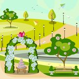 Garden wedding arch in park Royalty Free Stock Photo