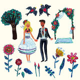Garden wedding clipart with bride, groom, two swallowes, flowers, leaves, tree and arch. Isolated elements. Acrylic hand-drawn illustration with some digital Stock Photography