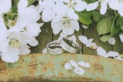 Garden Wedding Rings Stock Image