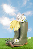 Garden Wellington Boots Stock Image