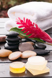 Garden wellness with red ginger flower and zen stones. On a wet wooden deck Royalty Free Stock Images