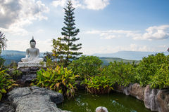 Garden with White Buddha  Stock Photography