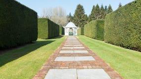 Garden with white gazebo Royalty Free Stock Photo